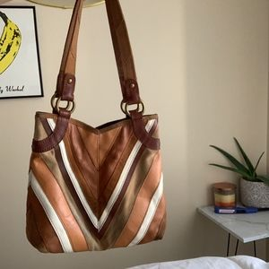 Lucky Brand Vintage Inspired Leather and Suede Bag